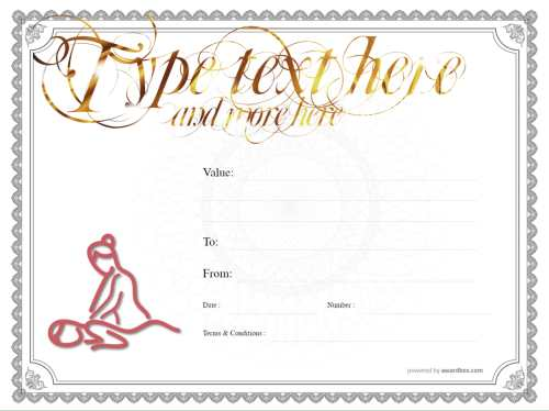 fully editable free spa gift template with massage image on white background with traditional certificate border for print