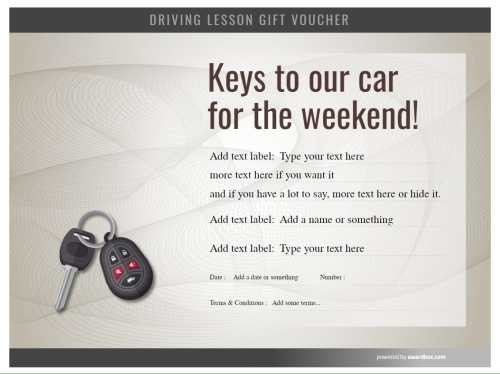 keys to the car driving lesson gift certificate template. free to edit and download for printing