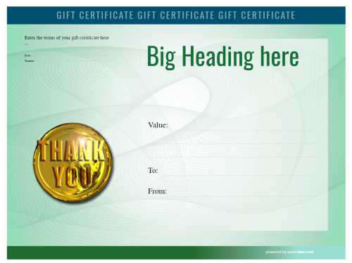 heavily colored green gift certificate customizable template design with swirling watermark and gold thank you medal