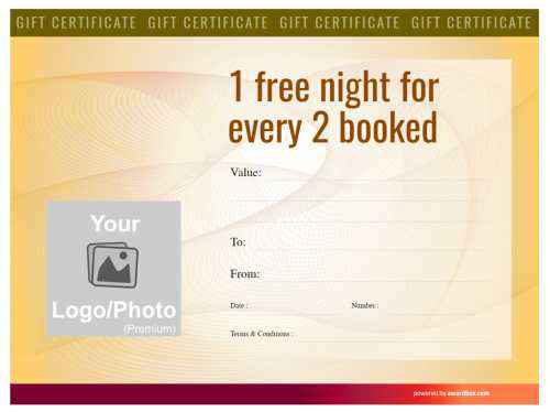 editable modern template with yelo watermark for bed and breakfast business gift certificate ready to print or download