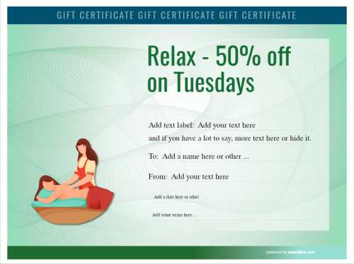 50% discount gift certificate with graphic style back massage image free template on green background for free printing