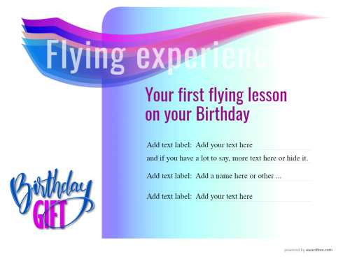birthday flying experience gift certificate. Free editable certificate with swapable badges to print or share on social media