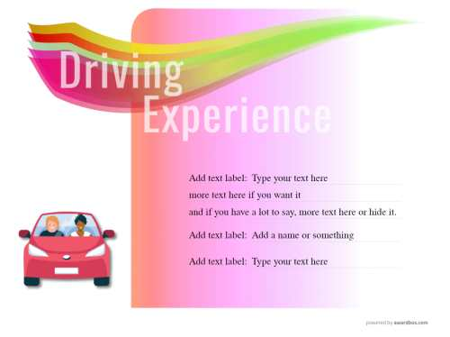 driving lesson gift template with pink background and stylised image of car, all text editable for free download and print