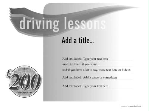editable cash value driving lesson free gift certificate template on a black and white design background for printing