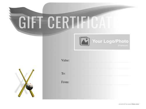 graduated black to white background gift certificate printable template with graphic swish and colored baseball decoration