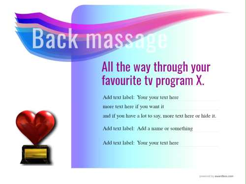 massage gift certificate design template showing home text for fun for free printing or downloadable social media image