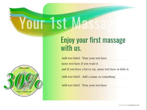 introduction to massage gift certificate free template with all text editable and changeable decorations for all print options