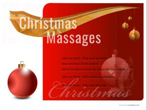 professional design christmas gift massage certificate in seasonal colors for free print. all text and design editable