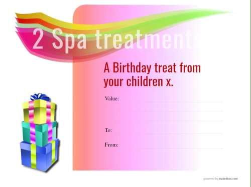 free spa treatment gift certificate with pink graduated background and gift boxes decoration for editing and printing