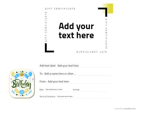 free modern design template for birthday gift certificate with optional grapch decorations for editing, download and print