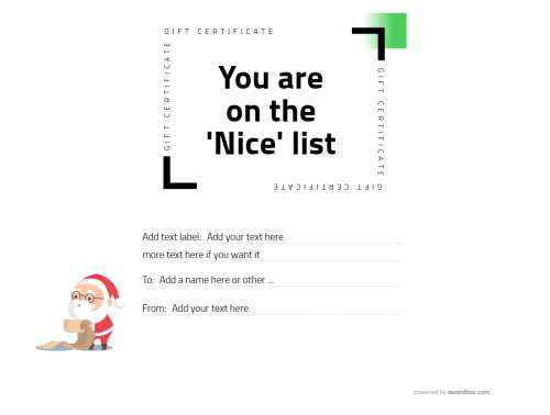 cheeky santa checking list graphic gift certificate template fully editable text and graphics for free download