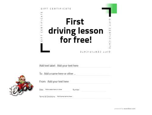 free driving lesson gift template with white simple background and all text editable for free download and print