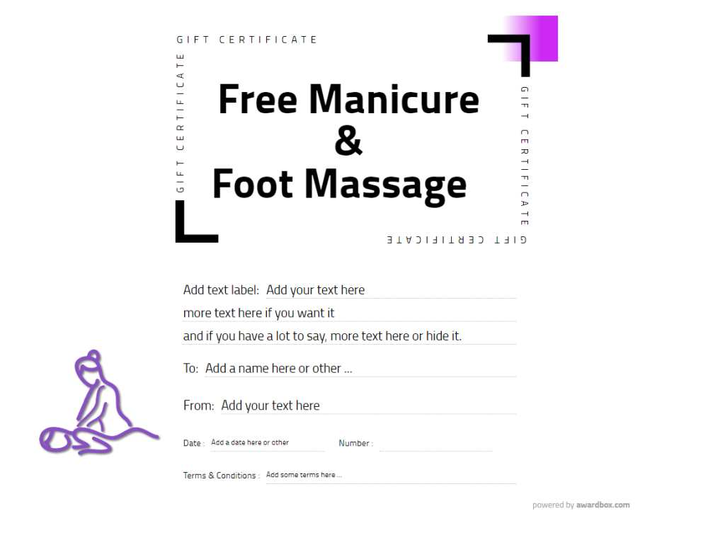 free manicure and massage gift voucher template for easy customization and download or print