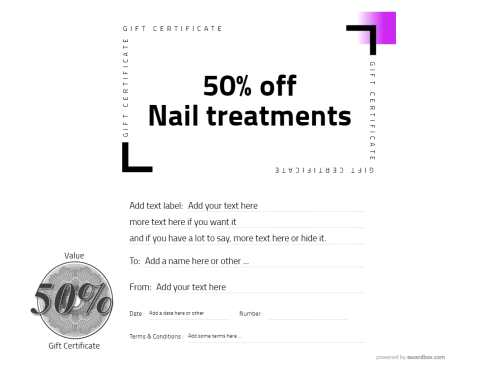free gift certificate template for modern nail treatments. fully editable and with additonal graphic decorations.