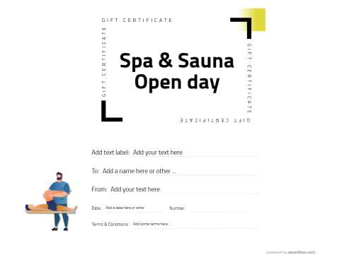 free spa and sauna gift certificate template in modern design simple to customize and print or download for social media
