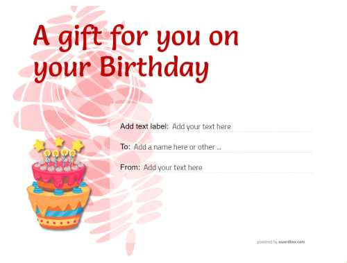 birthday gift certificate template free for editing, download and print