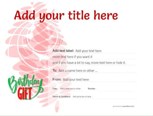 fully editable gift certificate template for birthday gift, free to download and print