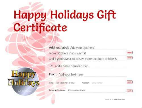 happy holidays gift certificate template, customizable and printable template for printing and social media