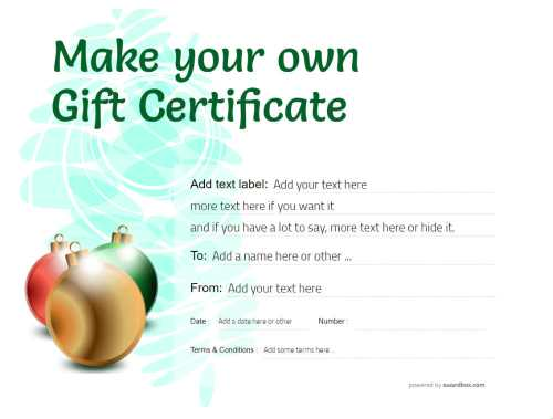 green modern graphic gift certificate template with christmas baubles fully editable text and graphics for free download