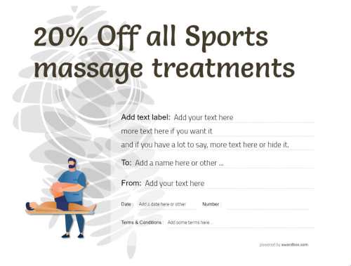 free massage offer gift certificate template with editable badges and text for commercial or home use. Add your logo