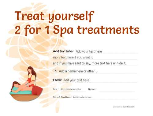 spa treatment git certificate modern template with massage graphic ready to edit, print or download