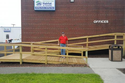 Frank Hruska poses on the newly built ramp