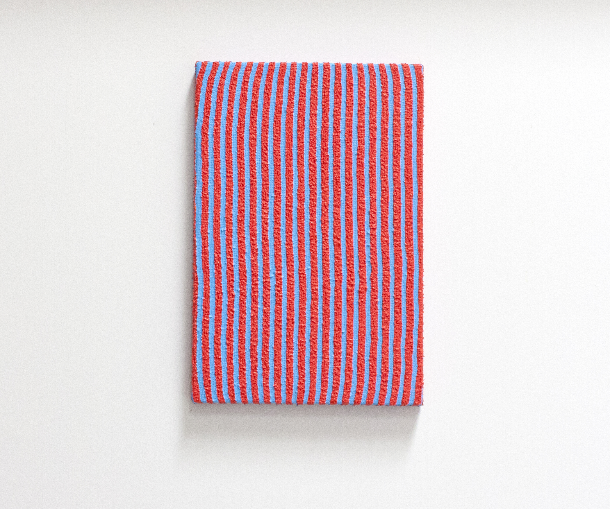 red kitchen towel with blue gullies
