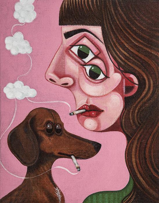 Smoking (Woman & Dog / Pink)