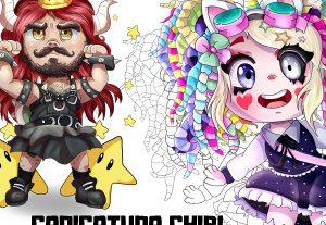 Ilustração de Chibis profissionais