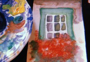 desenho em aquarela