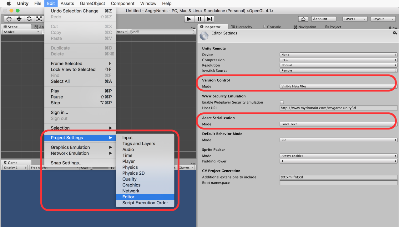 Unity version control settings for Git
