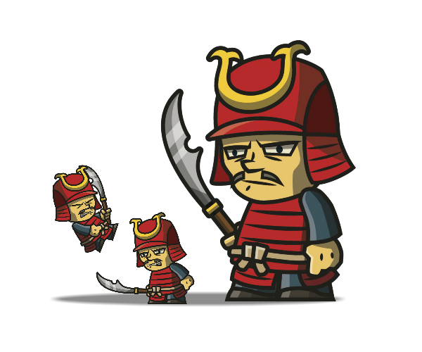Tiny Armored Samurai royalty free game art
