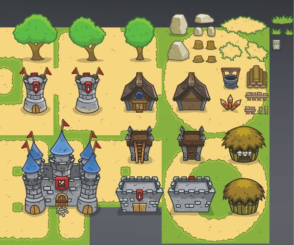 Medieval Top Down Tower Defense Game Art