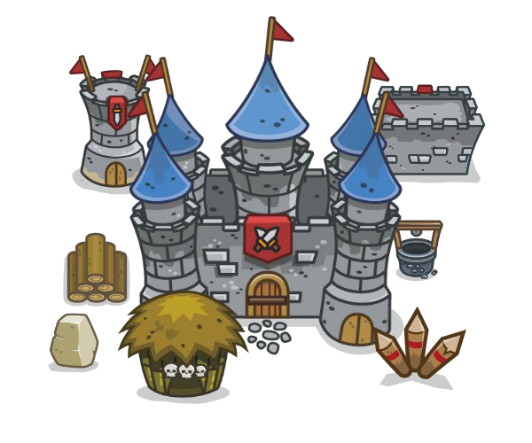 top down medieval themed tower defense art