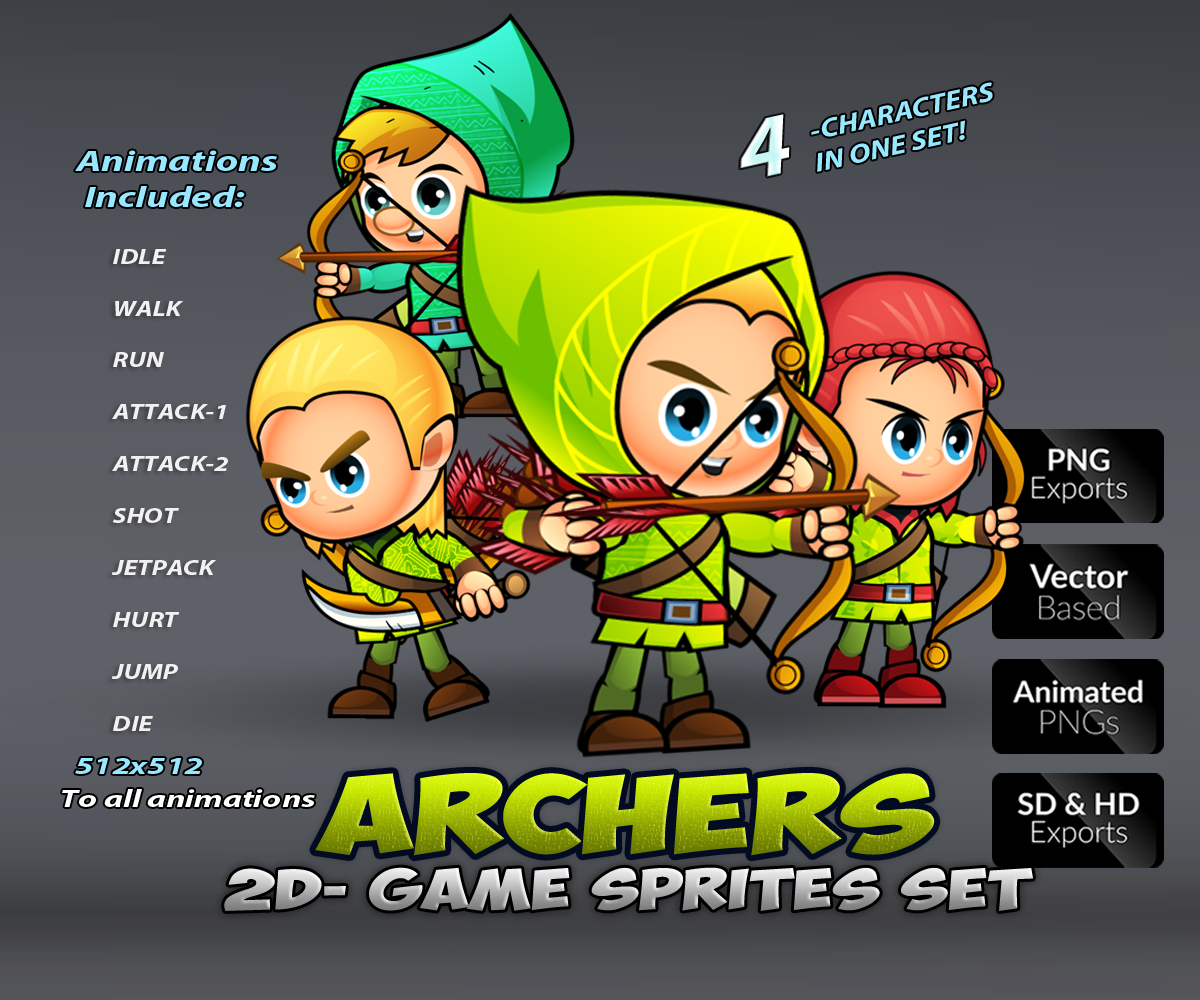 Archers 2D Game Character Sprite Sheets Gallery_Template