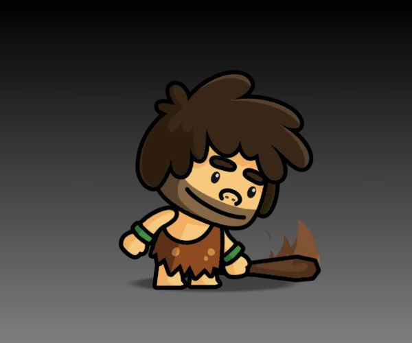 Cave Man Royalty Free Game Art