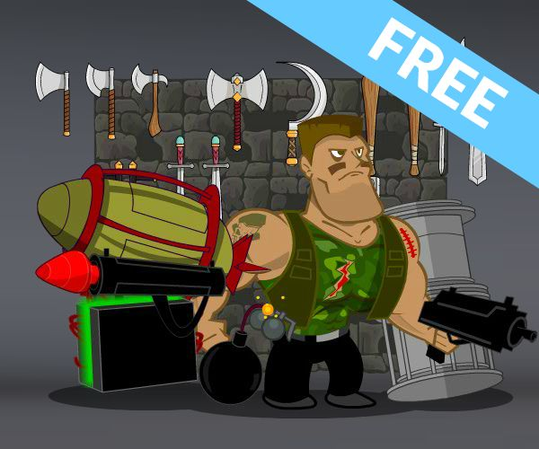 Free Weapons and Character Game Art