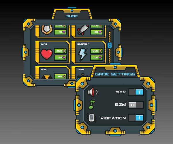 Sci Fi GUI Royalty Free Game Art 2