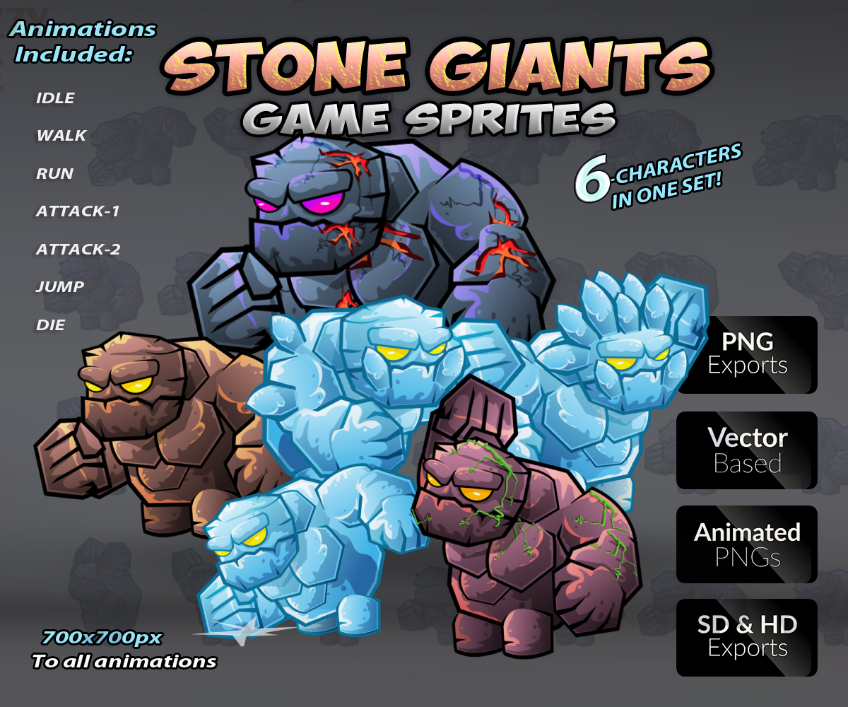 Stone Giants Game Character Sprites Sheets