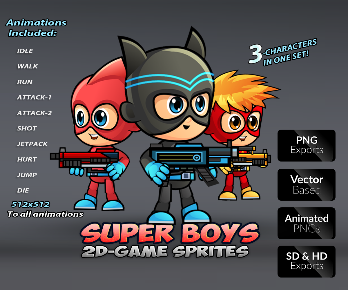 Super Boys Game Character Sprites