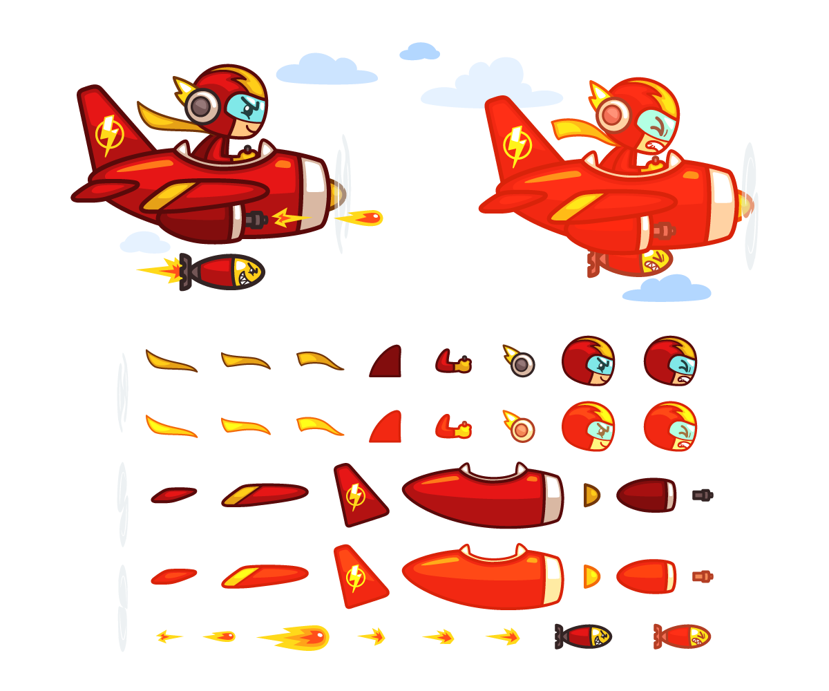 Red Plane Sprite Game