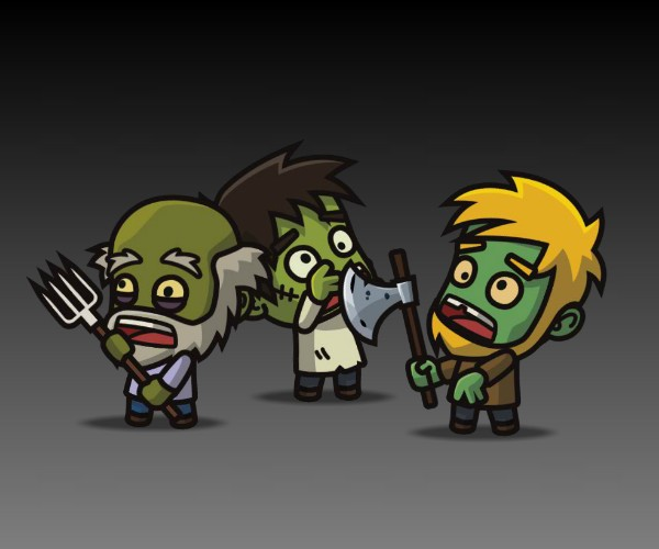 Zombie 3 pack thumbnail royalty free game art