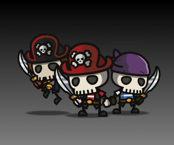 Mini Pirate Skeletons Royalty Free game art