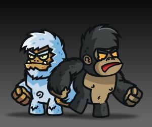 Yeti and Gorilla Character Set Royalty Free Game Art Thumbnail