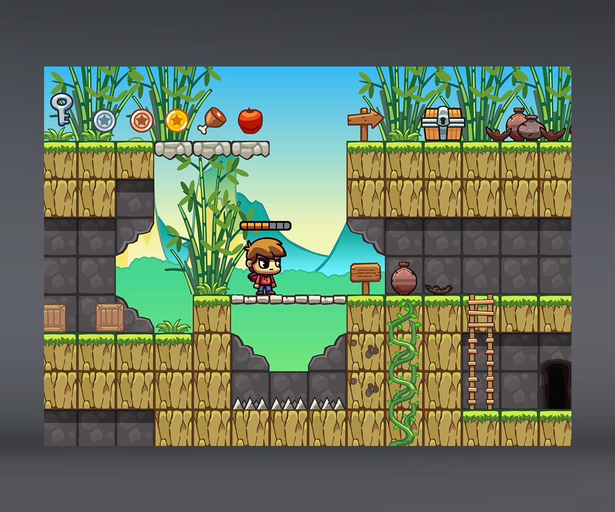 bamboo mountain platformer level tileset