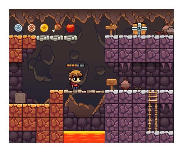 Lava cave platformer tileset by uvector