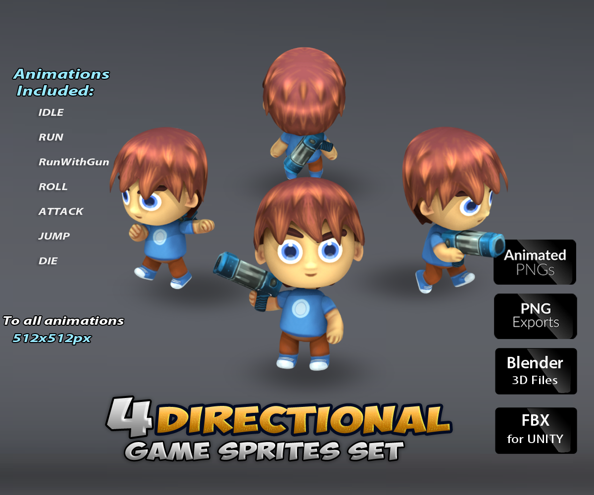 Four Directional Game Art Character Boy 1