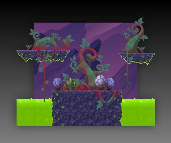 Purple Planet Platformer Tileset