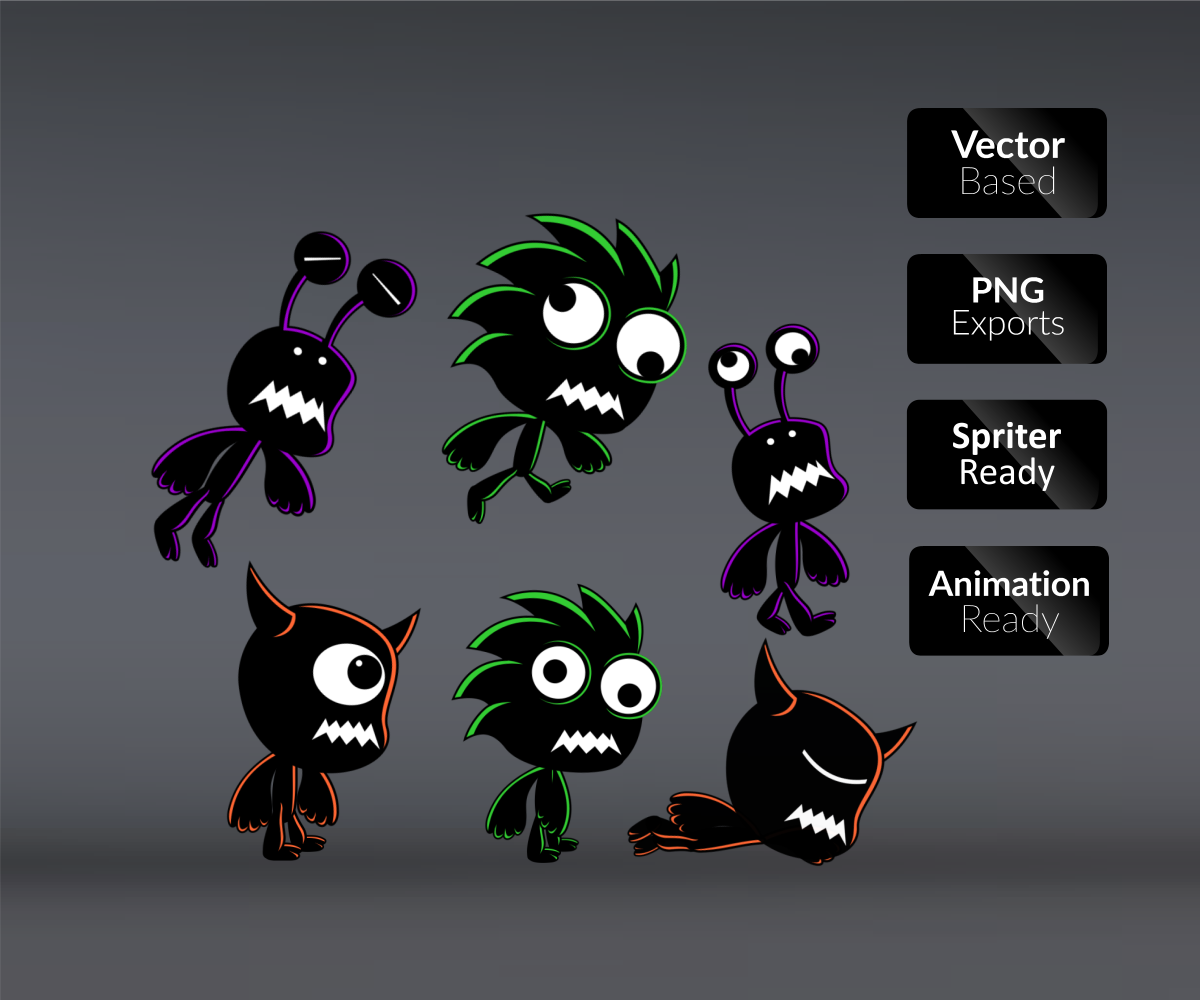 gameartpartners 3 Shadow Monster Enemy Character Sprite