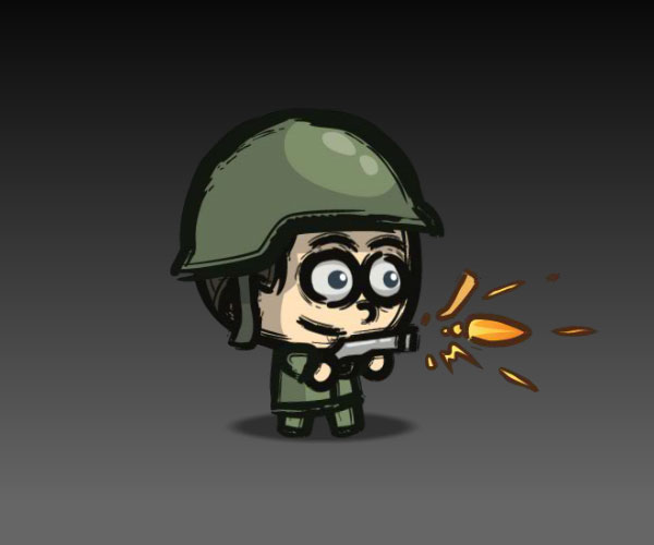 Hand Drawn Little Soldier Game Art Sprite
